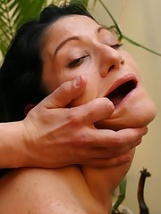 Curved rod impaling dark-haired, big-assed chicks cunt