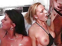 2 Hot german girlzz at gangbang sperm party