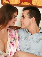 A well hung stud nailing his busy stepmother on the sofa