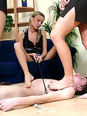 3 lovely girls in one room trample slave down force him to lick feet