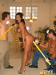 Two guys fuck a busty brunette with garden tool handles
