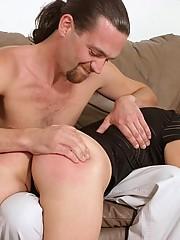 Pretty brunette turned over her boyfriends knee