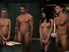 4 babes whip and use a lucky guy