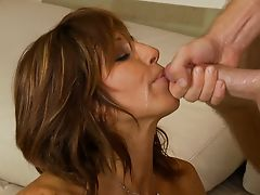 Brunette latin milf, facial