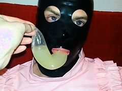 Cum Filled Condom 12, Cumshot, Semen, Bukkake, Mask, Latex