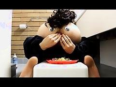 Bum Man eats a meal.