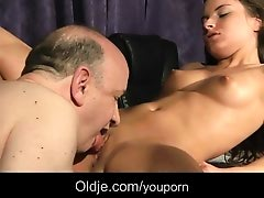 Old thick cock penetrates young pussy and mouth
