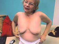 Cute Grandmother With Glasses Masturbates