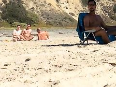 Caught three guys jerking at the nude beach