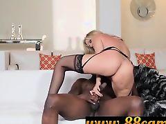 Blonde cougar fucking black student