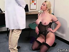 Hot model gets sperm load on her face eating all the love ju