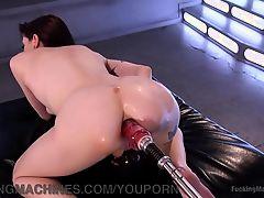 Tiny Girl Takes Big Machine Cocks