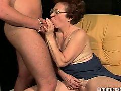 Horny granny utilizes her boytoy